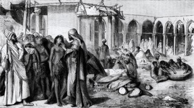 STC168911 In the Slave-Market at Khartoum (engraving) (b/w photo); by English School, (19th century); Private Collection; The Stapleton Collection; English, out of copyright