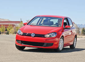 Ben Garrido test drives a VW Golf.  Photo by Amy Beck